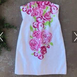 Strapless white floral Lilly Pulitzer Dress